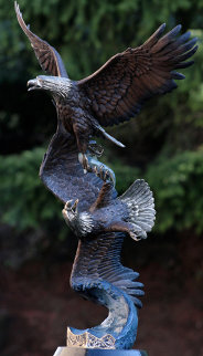 Six O'Clock Bandit Bronze Sculpture (eagle) 33 in Sculpture - Michael Maiden