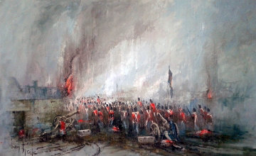 Rain, Mud And Flames of Waterloo 1975 55x37 Original Painting - Ben Maile