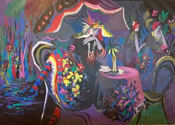 Le Cafe Nuit 1991 54x77 Original Painting - Isaac Maimon