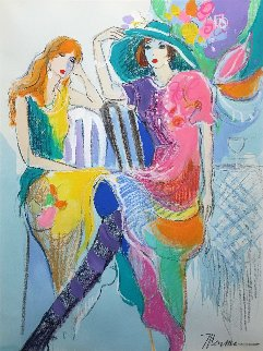 Spring Hat 1994 41x33 Original Painting - Isaac Maimon