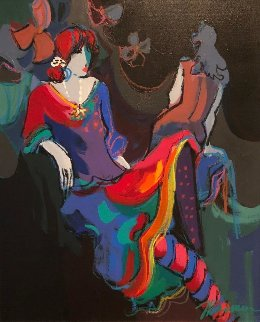 Brigitte And Noelle Suite of 2 1991 29x25 Original Painting - Isaac Maimon