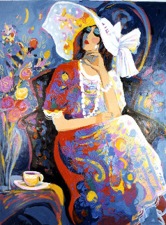 Sitting Pretty 1999 50x40 Original Painting - Isaac Maimon