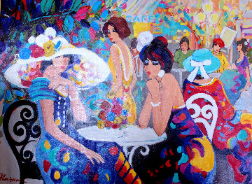 Cafe La Parisienne 2000 40x50 Original Painting - Isaac Maimon