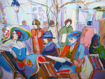 Lunch Outdoors 30x40 Original Painting - Isaac Maimon