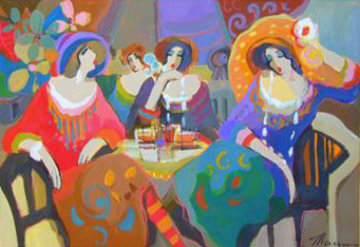 Untitled Cafe Ladies 2007 34x50 Original Painting - Isaac Maimon