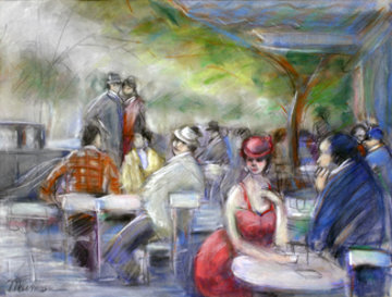 Untitled Watercolor (Cafe Scene) 19x25 Watercolor - Isaac Maimon