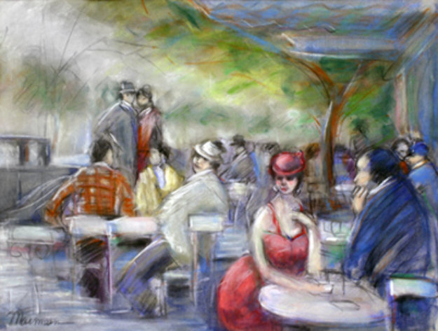 Untitled Watercolor (Cafe Scene) 19x25