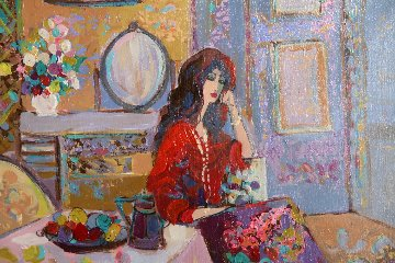 Lady Contemplating 1980 33x37 Original Painting - Isaac Maimon