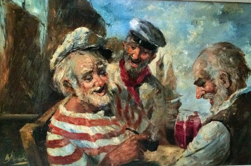 Old Salts 1970 44x32 Original Painting - Americo Makk