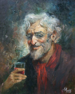 Untitled Portrait of Old Man with Glass 24x20 Original Painting - Americo Makk