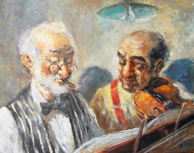 Two Elderly Musicians 38x32