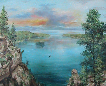 Emerald Bay 24x30 Lake Tahoe Ca 24x30 Original Painting - Eva Makk