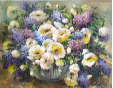 Lilacs and Poppies 1986 34x28 Original Painting - Eva Makk