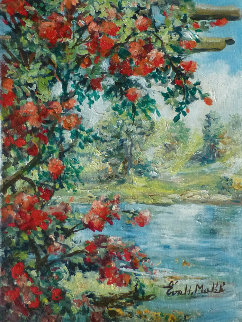 Lakeside View 1988 16x12 Original Painting - Eva Makk