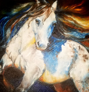 Moonlight Apaloosa 2012 24x24 Original Painting - Marcia Baldwin