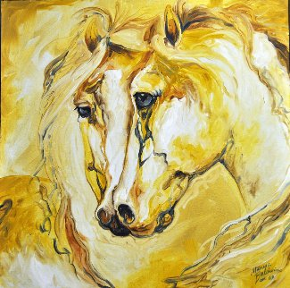 Equine Friends of Gold 2009 24x24 Original Painting - Marcia Baldwin