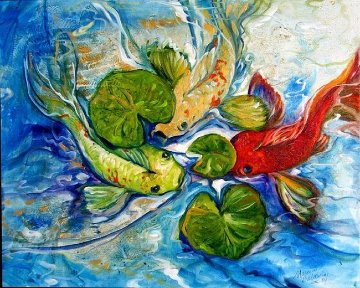 Koi Three Abstract 2009 Limited Edition Print - Marcia Baldwin