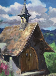 Untitled (Hillside Church)  Original Painting - Maria Bertran