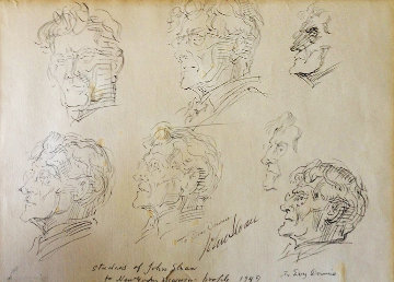 Studies of John Sloan For the New Yorker 1949 Drawing - Reginald Marsh