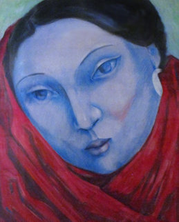 Blue Lady Pastel 1985 41x35 Original Painting - Miguel Martinez