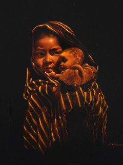Girl With Doll 32x28 Original Painting - Esperanza Martinez