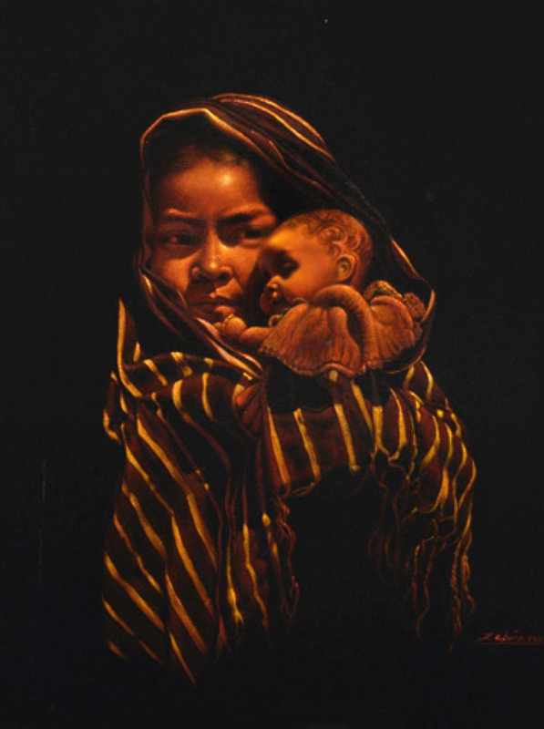 Girl With Doll 32x28