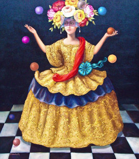 Jester 2003 49x39 Original Painting - Hector Martinez