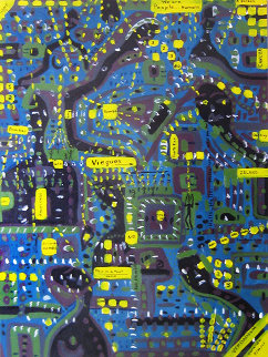 Vieques: Hello USA, Are You There? 2001 48x36 Original Painting - Soraida Martinez