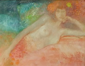 Untitled Female Painting  (Mermaid/Fantasy) 1975 18x22 Original Painting - Felix Mas