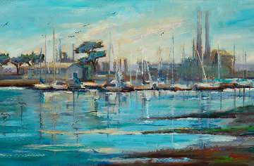 Moss Landing Harbor, Plein Air 2018 15x30 Original Painting - Marie Massey