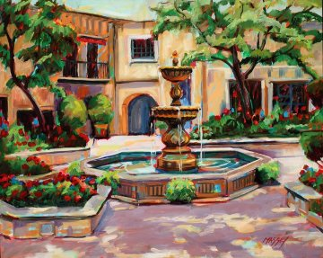Summer Courtyard 2010 24x30 Original Painting - Marie Massey