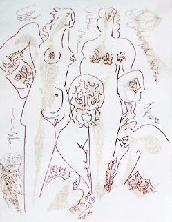 Femmes Aux Masques 1970 Limited Edition Print - Andre Masson