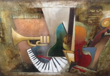 Orchestration Embellished 46x60 Limited Edition Print - Emanuel Mattini