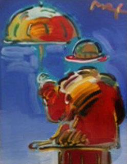 Umbrella Man on Blue Ver I #1 Unique 2004 Works on Paper (not prints) - Peter Max