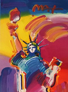 Statue of Liberty Unique 2015 31x14 Works on Paper (not prints) - Peter Max