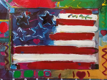 American Flag With Heart 1990 35x28 Works on Paper (not prints) - Peter Max