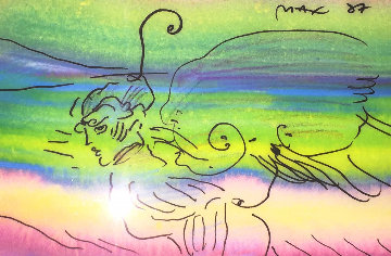 Angel Fantasy 1987 Unique 25x21 Works on Paper (not prints) - Peter Max