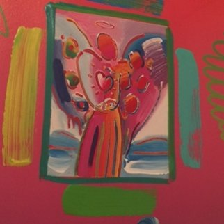 Angel with  Heart Collage, Ver II 1998 14x12 Works on Paper (not prints) - Peter Max