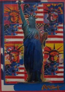God Bless America - With Five Liberties Unique 2001 31x37 Works on Paper (not prints) - Peter Max