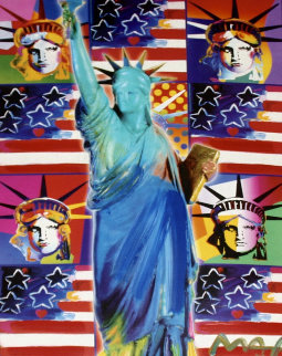 God Bless America III - With Five Liberties Unique 39x33 Works on Paper (not prints) - Peter Max