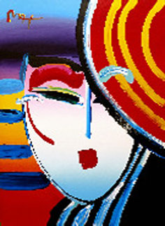 Deco Lady 2002 48x36 Original Painting - Peter Max