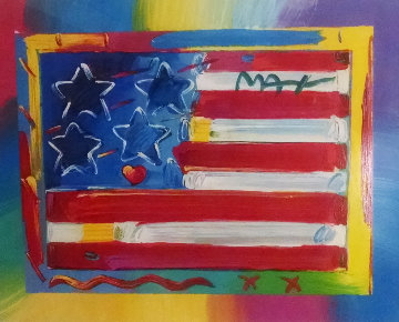 Flag With Heart Unique 18x23 Works on Paper (not prints) - Peter Max