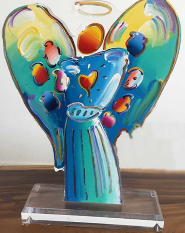 Angel With Heart Acrylic Sculpture Version   Unique 2015 24 in