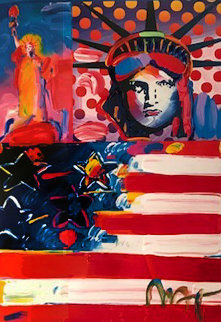 God Bless America II Works on Paper (not prints) - Peter Max