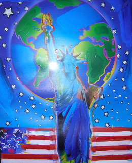 Peace on Earth Unique   2001 24x18 Works on Paper (not prints) - Peter Max