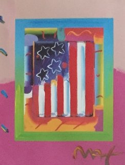 Flag With Heart on Blends   Vertical Unique 2005 24x24 Works on Paper (not prints) - Peter Max