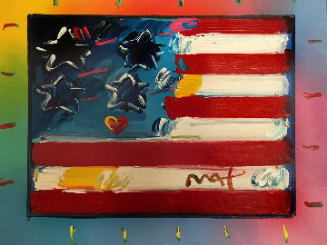 Flag With Heart  Unique 1995 29x33 Works on Paper (not prints) - Peter Max