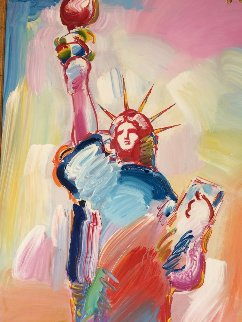Statue of Liberty  Unique  60x30 Original Painting - Peter Max