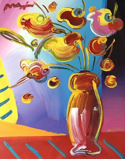 Vase Of Flowers 2002 34x30 By Peter Max