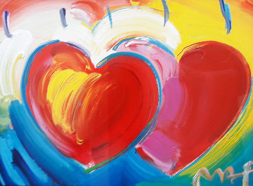 Two Hearts  Unique 20x30 Works on Paper (not prints) - Peter Max